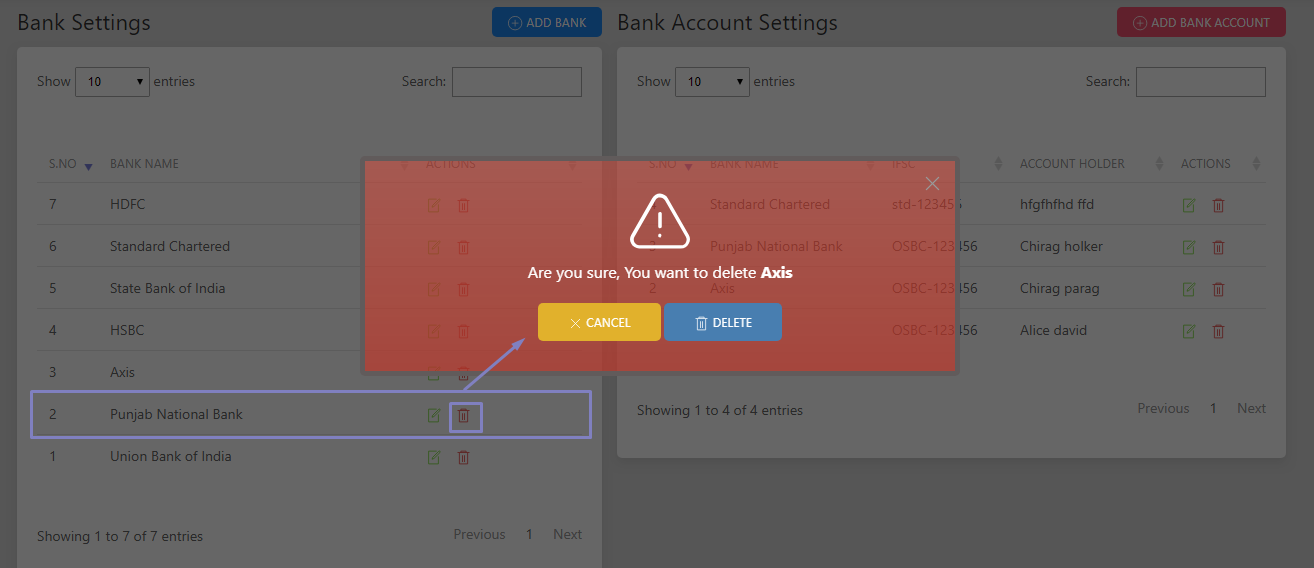 SHIFTHRM Delete Bank