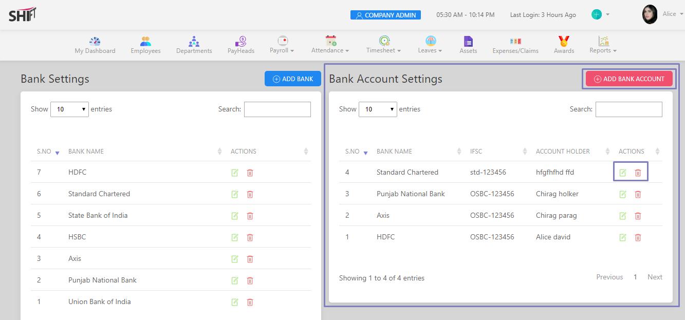 SHIFTHRM Bank Account Settings