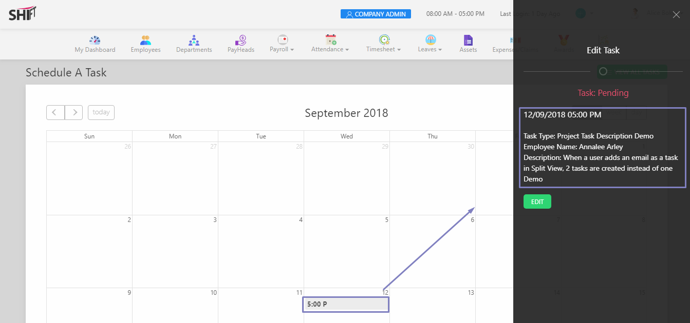 SHIFTHRM Edit Schedule Task