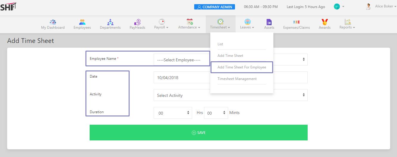 SHIFTHRM Add Timesheet for Employee