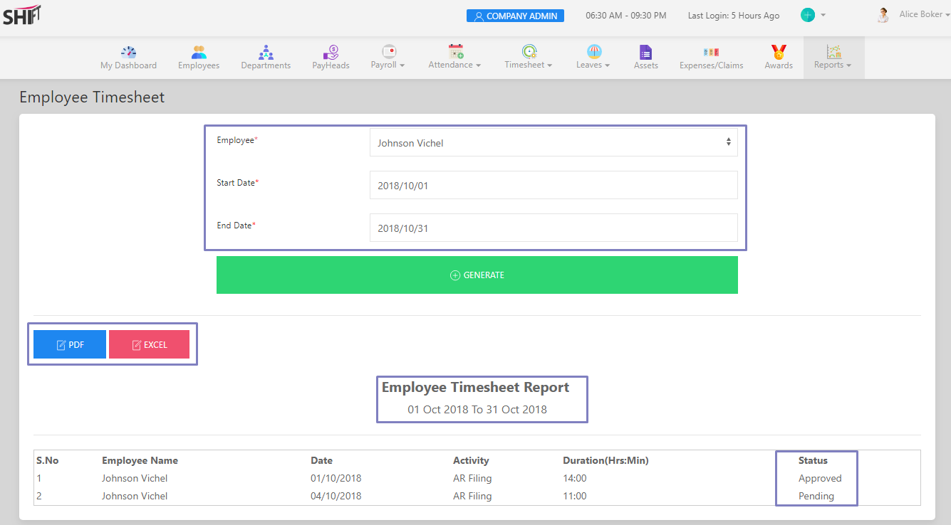 SHIFTHRM Employee Timesheet Report