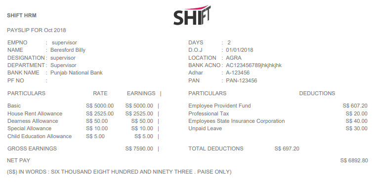 SHIFTHRM Employee-Wise PDF Payslip