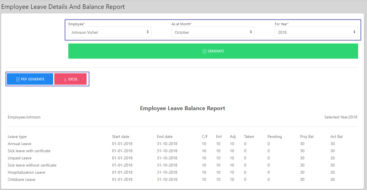 SHIFTHRM Employee Leave details & Balance